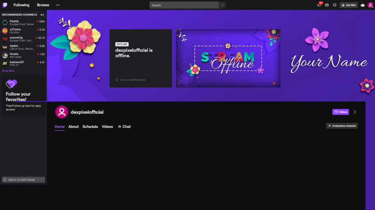 Spring Vibe Twitch Channel Banner Cover Floral Flowers